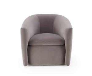 Roma swivel armchair velvet maleo lario grey - front view