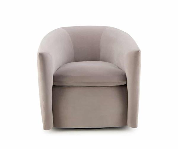 Roma swivel armchair velvet maleo lario light grey - front view