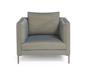 Siena armchair kalami bronze blue - front view