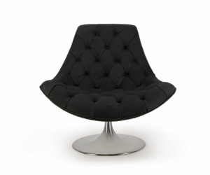 Venezia swivel armchair luxury black leather - front view