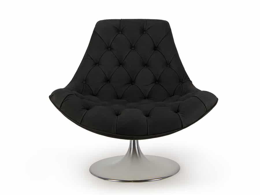 Venezia swivel armchair luxury black leather - front view
