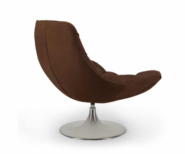 Venezia swivel armchair luxury coffee leather - back view