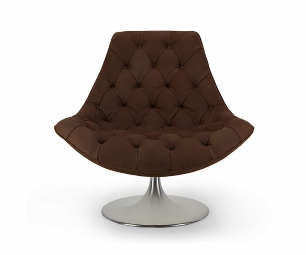 Venezia swivel armchair luxury coffee leather