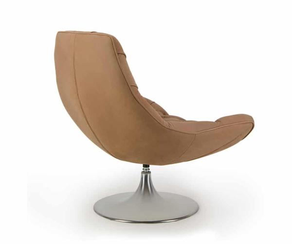 Venezia swivel armchair luxury brown leather - back view