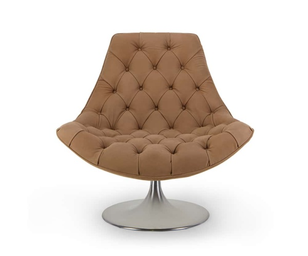 Venezia swivel armchair luxury brown leather chair - front view