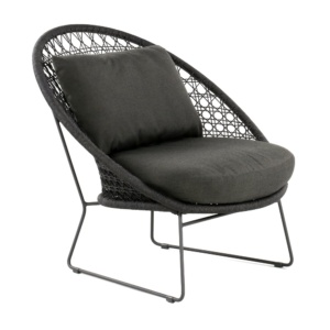Basket Outdoor Rope Relaxing Chair Graphite Angle