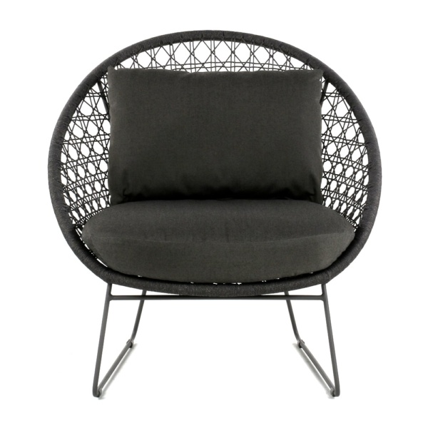 Basket Outdoor Rope Relaxing Chair Graphite Front