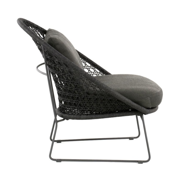 Basket Outdoor Rope Relaxing Chair Graphite Side