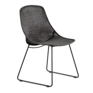 Joe Outdoor Wicker Dining Side Chair Coal Angle