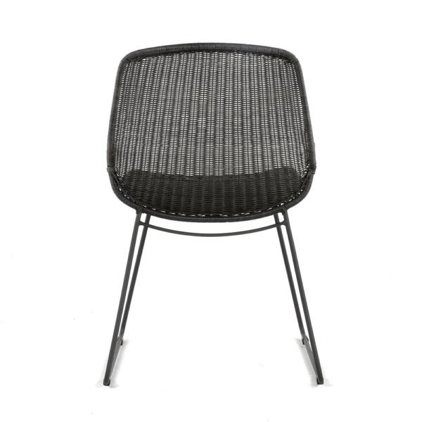 Joe Outdoor Wicker Dining Side Chair Coal Back