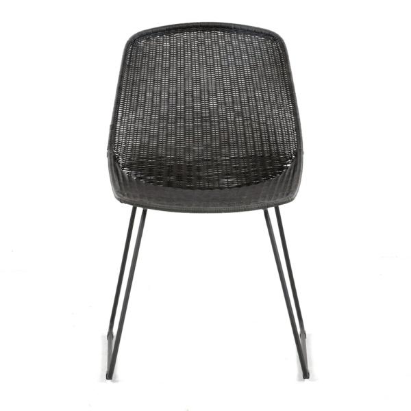 Joe Outdoor Wicker Dining Side Chair Coal Front