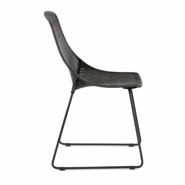Joe Outdoor Wicker Dining Side Chair Coal Side