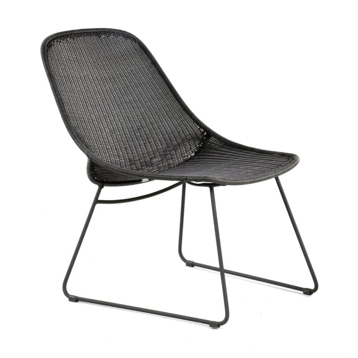 Joe Outdoor Wicker Relaxing Chair Coal Angle