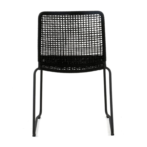 Kline Outdoor Rope and Aluminum Dining Side Chair Back