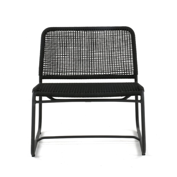 Kline Outdoor Rope and Aluminum Relaxing Chair Front
