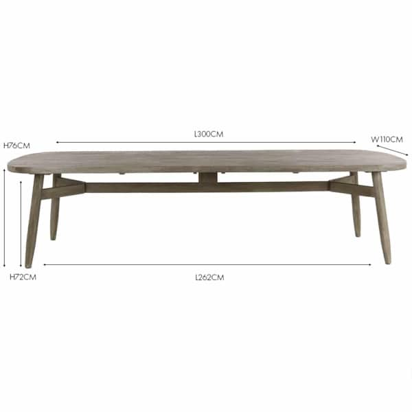 Sutherland reclaimed teak outdoor dining table