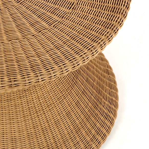 Tom Outdoor Wicker Coffee Table Natural Closeup