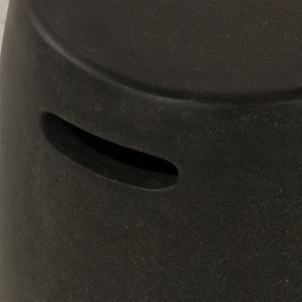 Zoe Outdoor Fiberglass Stool Small Graphite Closeup