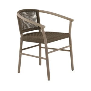 Macintosh outdoor rope teak dining chair - angle view