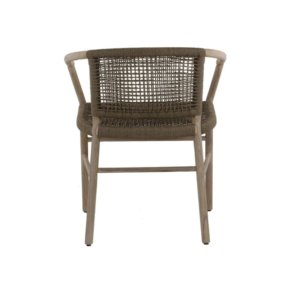 Macintosh outdoor rope teak dining chair - rear view