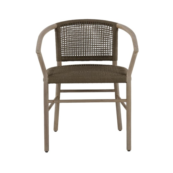 Macintosh outdoor rope teak relaxing chair - front view