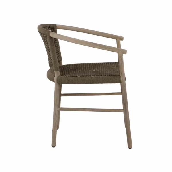 Macintosh outdoor rope teak relaxing chair - side view