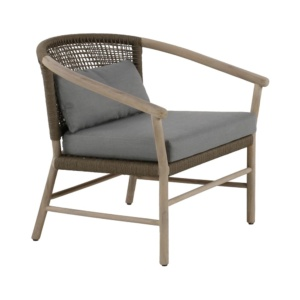 Macintosh outdoor rope teak relaxing chair - angle view