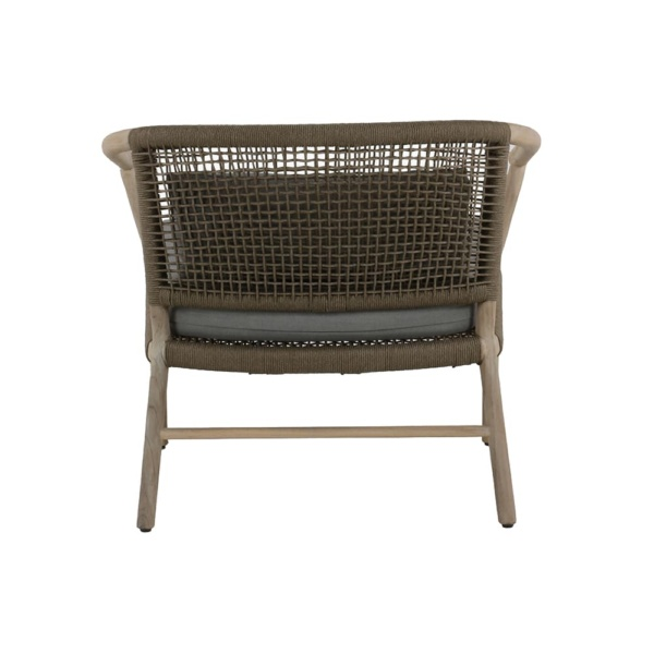 Macintosh outdoor rope teak relaxing chair - back view