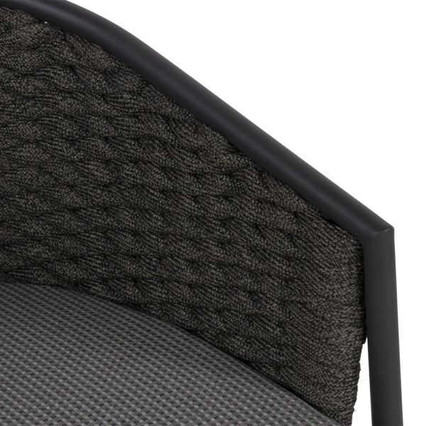 Pippa outdoor rope aluminum relaxing chair - closeup view