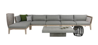 Scott outdoor rope reclaimed teak sectional collection