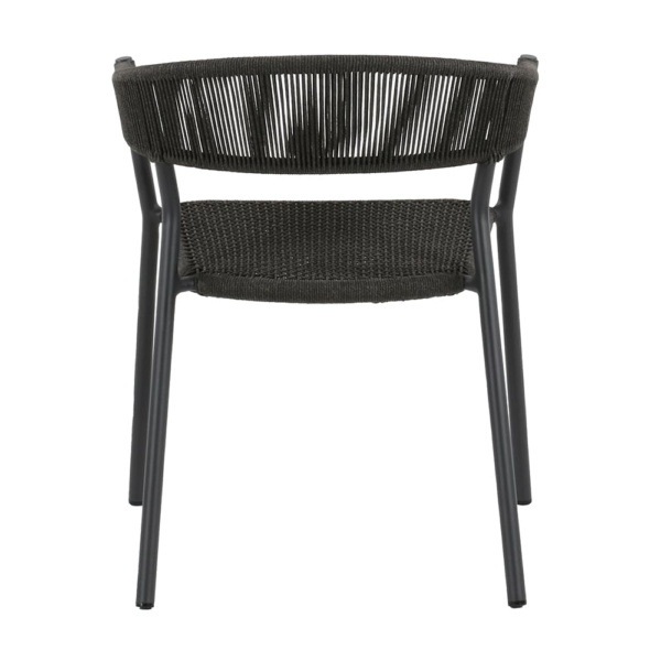 Spider outdoor dining stacking chair - back view