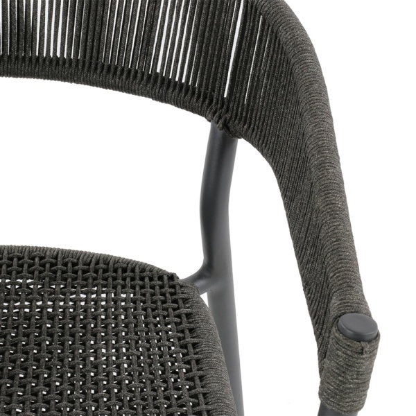 Spider outdoor dining stacking chair - closeup view