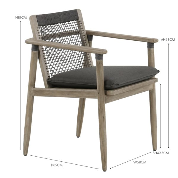 Sutherland Teak and Rope Dining Arm Chair