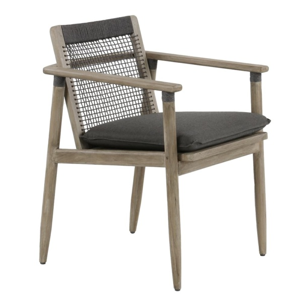 Sutherland outdoor teak and rope relaxing chair clay graphite - angle view