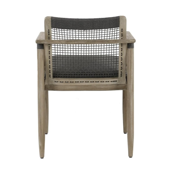 Sutherland outdoor teak and rope relaxing chair clay graphite - rear view