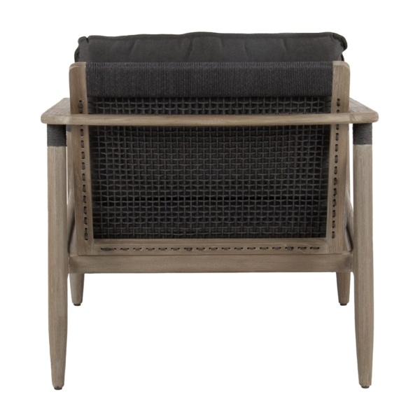 Sutherland outdoor teak and rope relaxing chair clay graphite - back view
