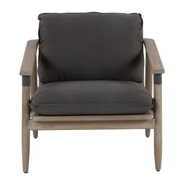 Sutherland outdoor teak and rope relaxing chair clay graphite - front view