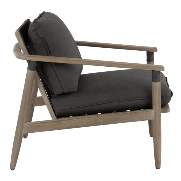 Sutherland outdoor teak and rope relaxing chair clay graphite - side view