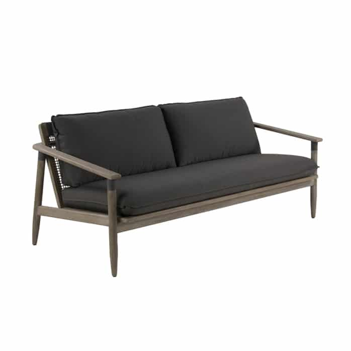 Sutherland outdoor teak and-rope sofa angle