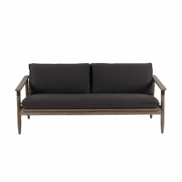 Sutherland outdoor teak and rope sofa front