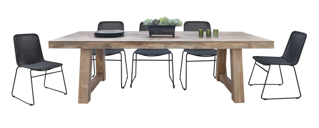 Hunter reclaimed teak dining table with Olivia black dining side chairs