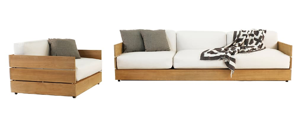 teak outdoor furniture with sunbrella - soho