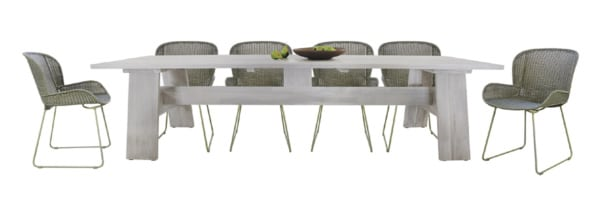 BRADFORD OUTDOOR DINING TABLE WITH NAIROBI PURE WICKER DINING CHAIRS