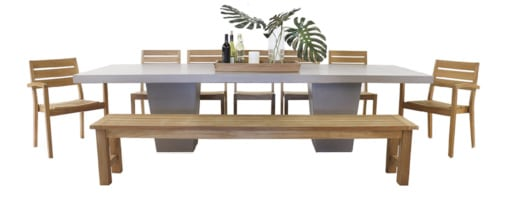 CONCRETE DINING TABLE WITH TEAK BENCH AND HORIZON TEAK STACKING DINING ARM CHAIRS