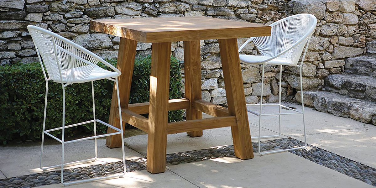 Outdoor Bar Set with Teak table and Woven Chairs